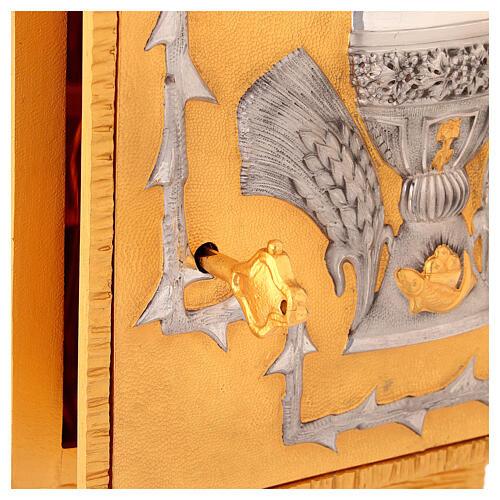 Tabernacolo da mensa in ottone fuso decorazione dorata IHS 4