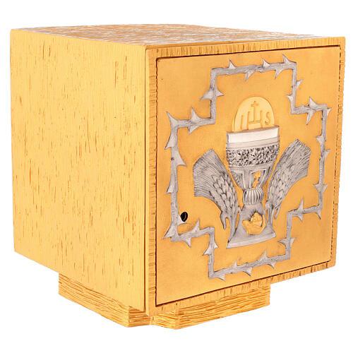 Tabernacolo da mensa in ottone fuso decorazione dorata IHS 5