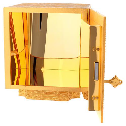 Tabernacolo da mensa in ottone fuso decorazione dorata IHS 6