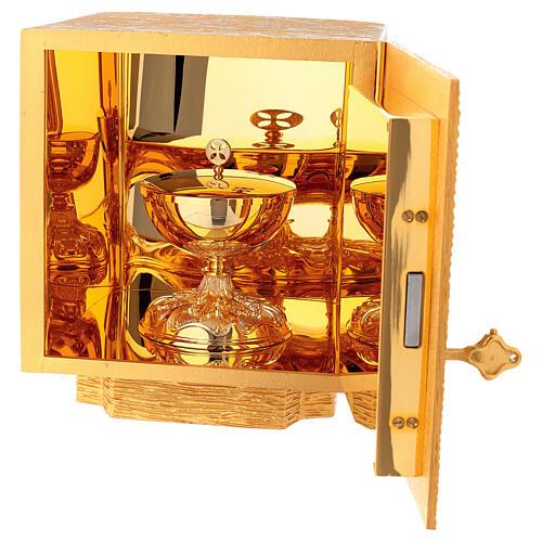 Tabernacolo da mensa in ottone fuso decorazione dorata IHS 7