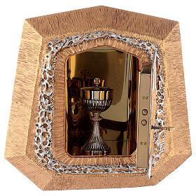 Sagrario de pared dorado con símbolos sacramentos s8