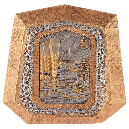 Sagrario de pared dorado con símbolos sacramentos 1