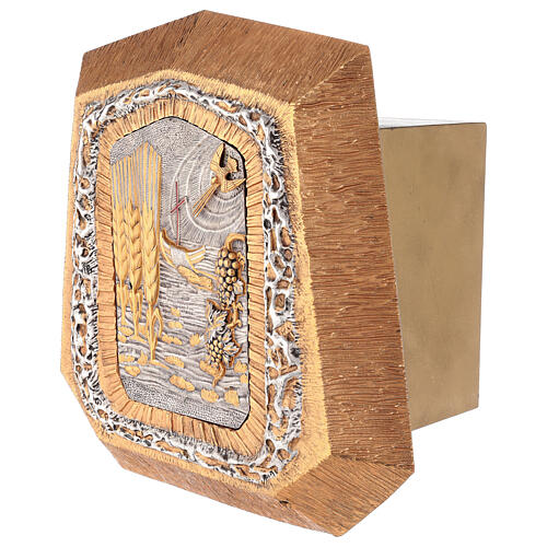 Sagrario de pared dorado con símbolos sacramentos 3