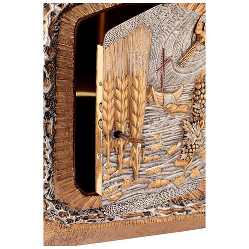 Sagrario de pared dorado con símbolos sacramentos 5