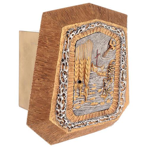 Sagrario de pared dorado con símbolos sacramentos 6