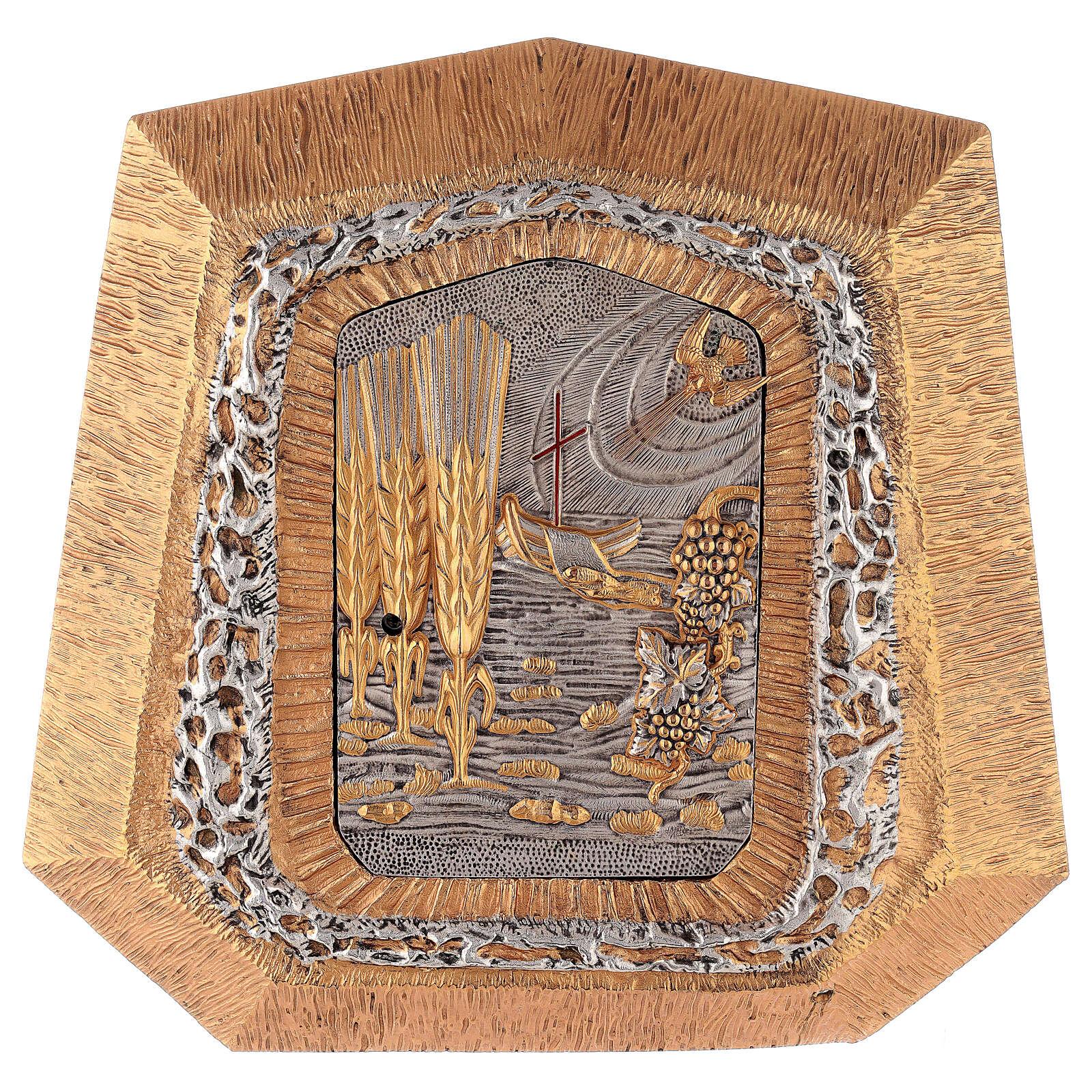 Tabernacolo da muro dorato con simboli sacramenti 4