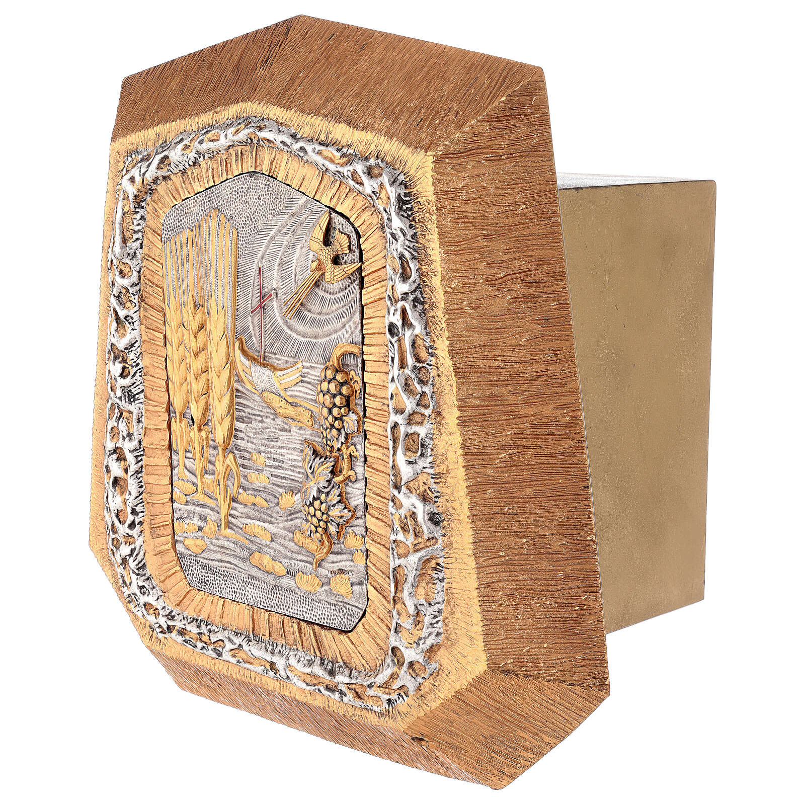 Wall-mounted gold plated tabernacle with Sacraments symbols 4
