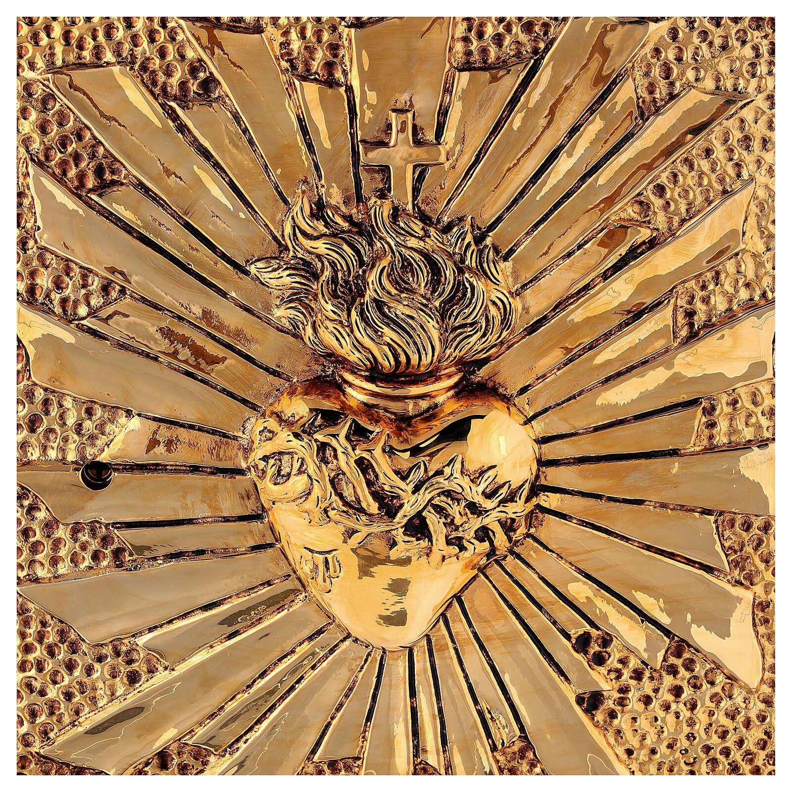 Sagrario eucaristía Sagrado Corazón acabado mármol rojo latón dorado 4