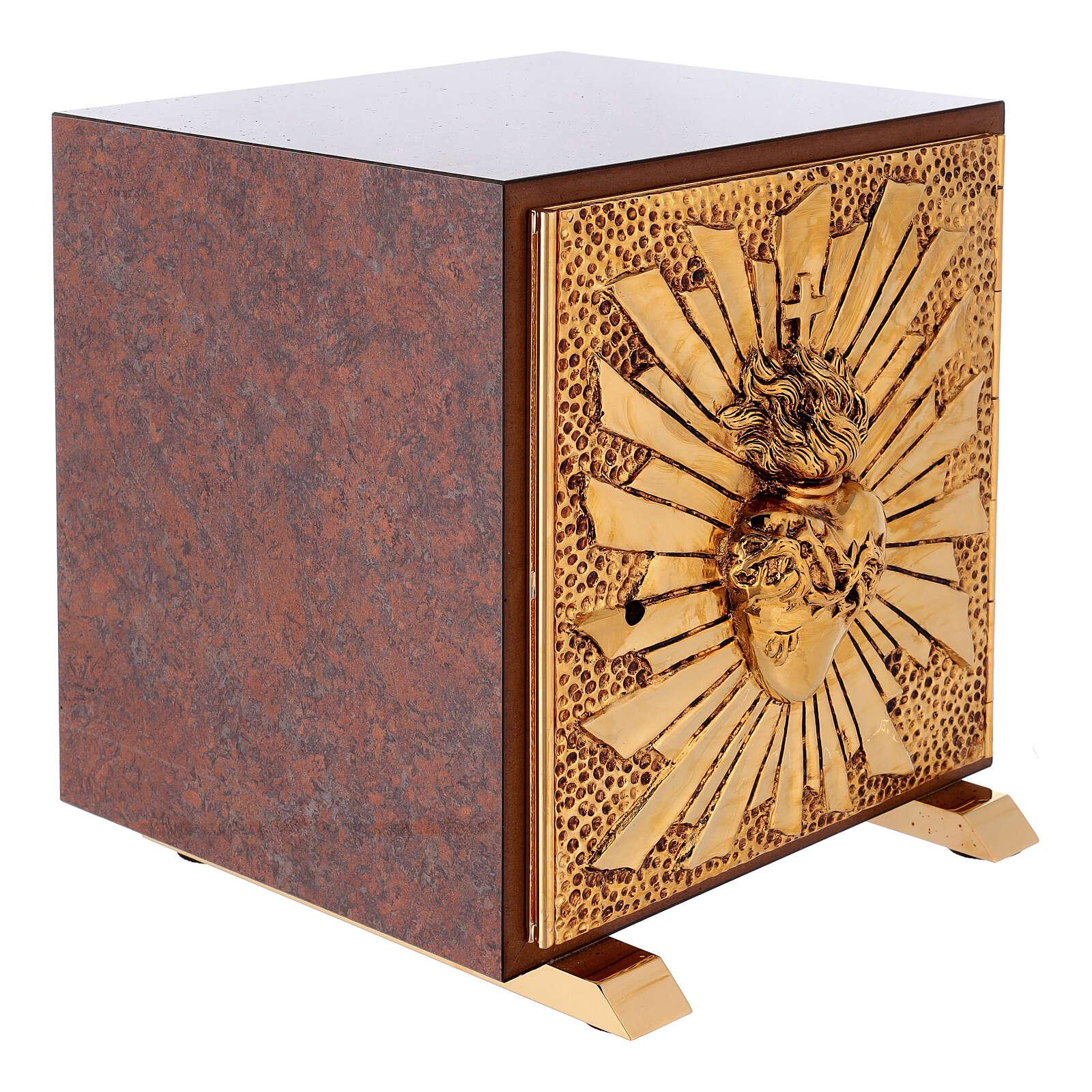 Tabernacolo mensa Sacro Cuore finitura marmo rosso ottone dorato 4