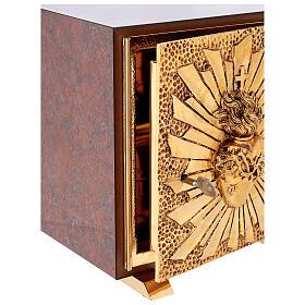 Tabernacolo mensa Sacro Cuore finitura marmo rosso ottone dorato s4