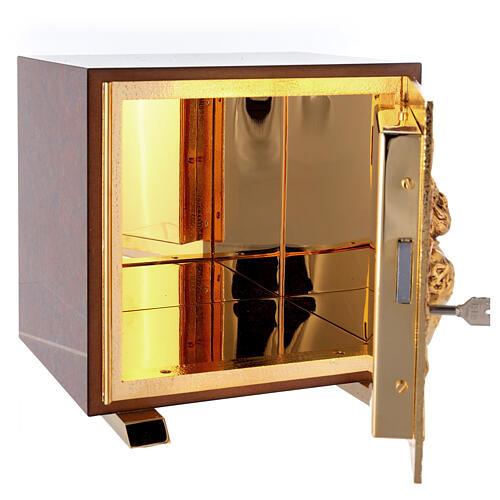 Tabernacolo mensa Sacro Cuore finitura marmo rosso ottone dorato 6