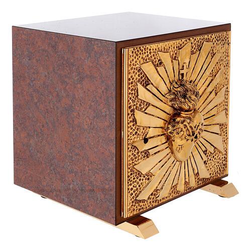 Tabernacolo mensa Sacro Cuore finitura marmo rosso ottone dorato 8
