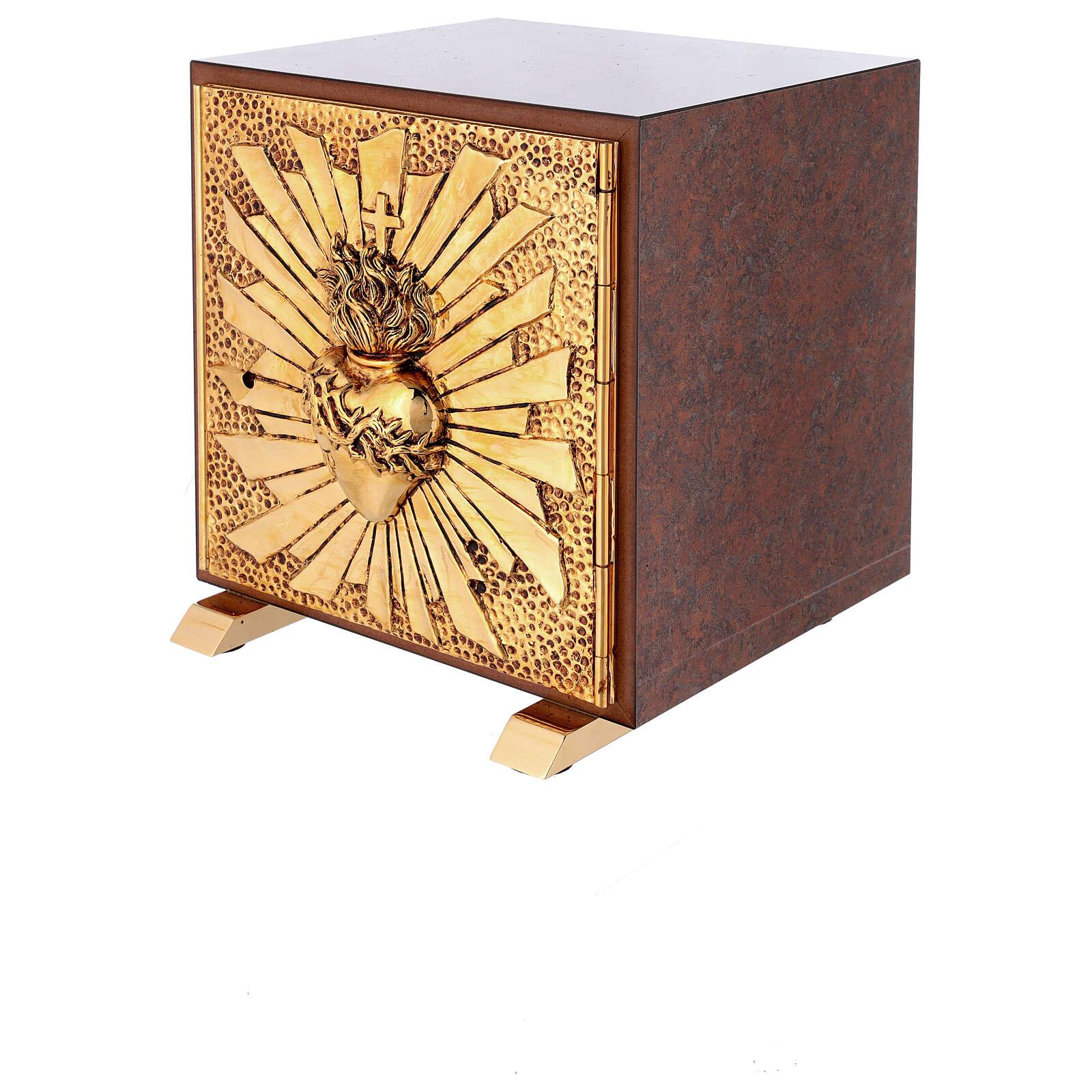 Sacrário de altar latão dourado Sagrado Coração acabado mármore vermelho 4