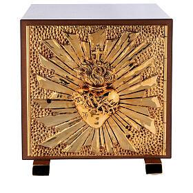 Sacrário de altar latão dourado Sagrado Coração acabado mármore vermelho s1