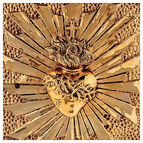 Sacrário de altar latão dourado Sagrado Coração acabado mármore vermelho s2