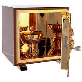 Sacrário de altar latão dourado Sagrado Coração acabado mármore vermelho s7