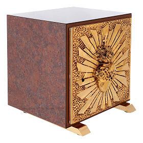 Sacrário de altar latão dourado Sagrado Coração acabado mármore vermelho s8