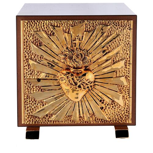 Sacrário de altar latão dourado Sagrado Coração acabado mármore vermelho 1
