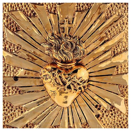 Sacrário de altar latão dourado Sagrado Coração acabado mármore vermelho 2