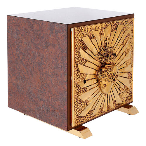 Sacrário de altar latão dourado Sagrado Coração acabado mármore vermelho 8