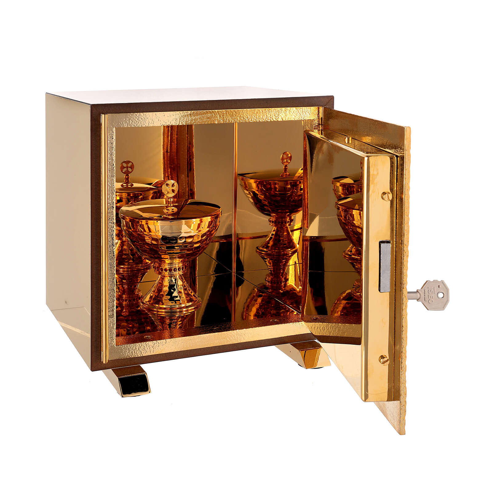 Tabernacle de table Sacré-Coeur coque dorée 4