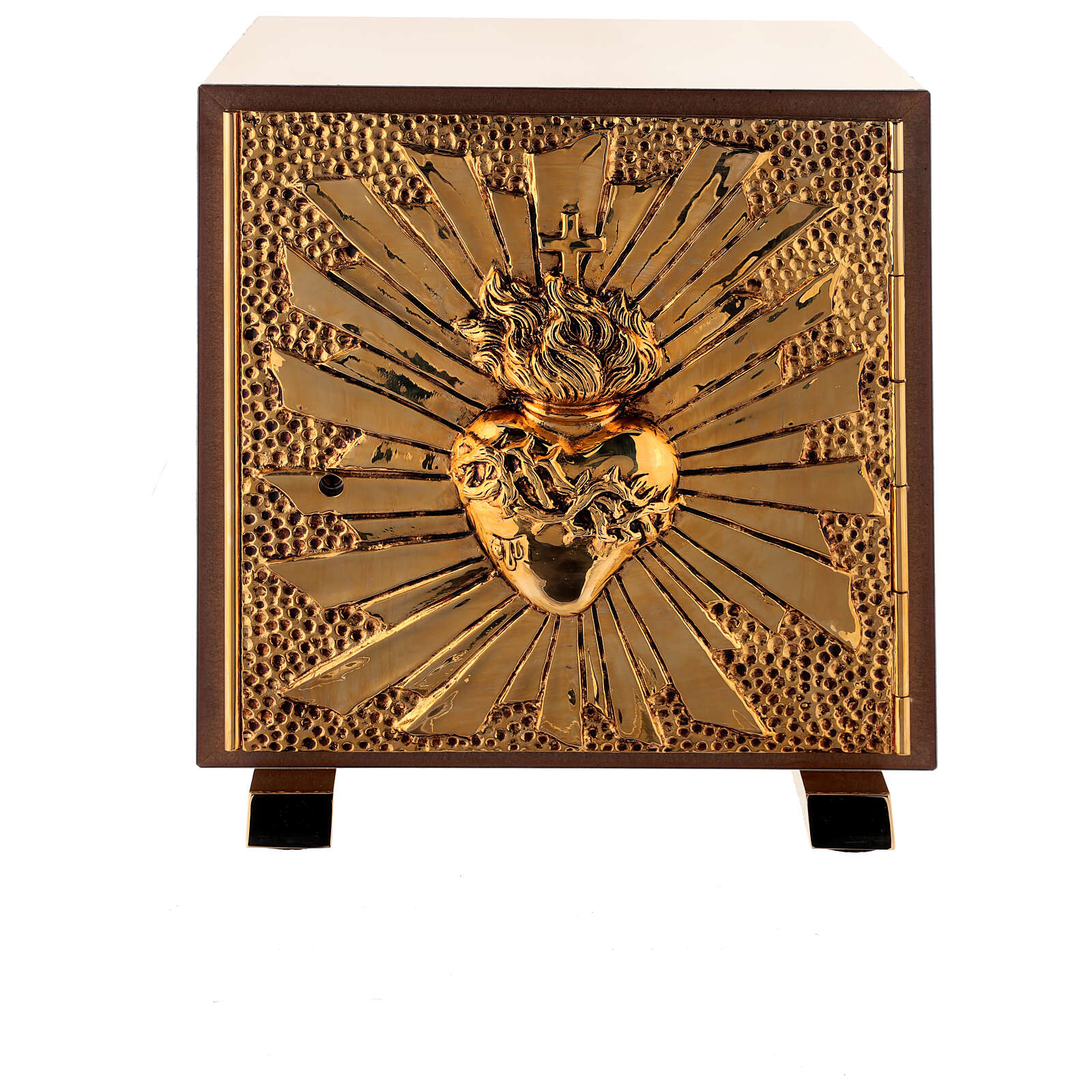 Altar tabernacle Sacred Heart gold plated shell 4