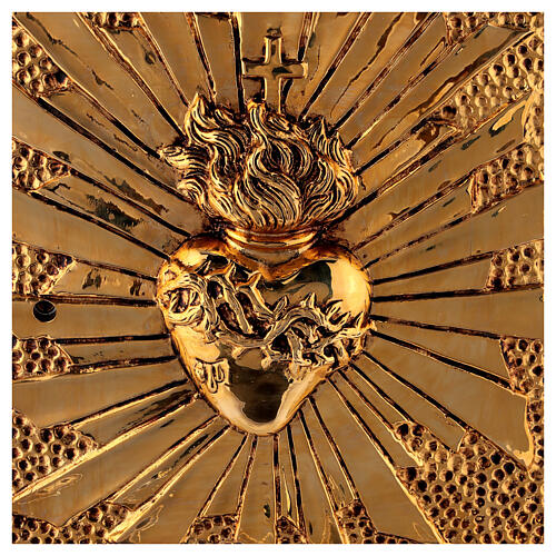 Altar tabernacle Sacred Heart gold plated shell 2