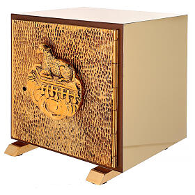 Sacrário de altar dourado com Cordeiro exposição Santíssimo Sacramento s3
