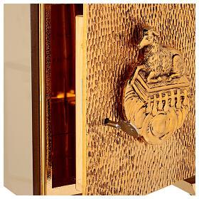 Sacrário de altar dourado com Cordeiro exposição Santíssimo Sacramento s5