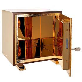Sacrário de altar dourado com Cordeiro exposição Santíssimo Sacramento s6