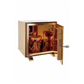 Sacrário de altar dourado com Cordeiro exposição Santíssimo Sacramento s7