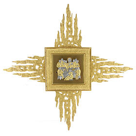 Sagrario de pared latón con corona de rayos 90x90 cm y puerta bicolor s1