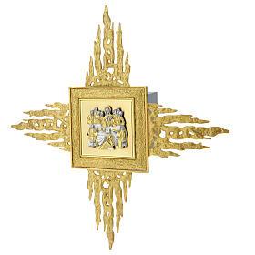 Sagrario de pared latón con corona de rayos 90x90 cm y puerta bicolor s5
