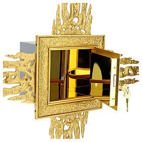 Sagrario de pared latón con corona de rayos 90x90 cm y puerta bicolor s10