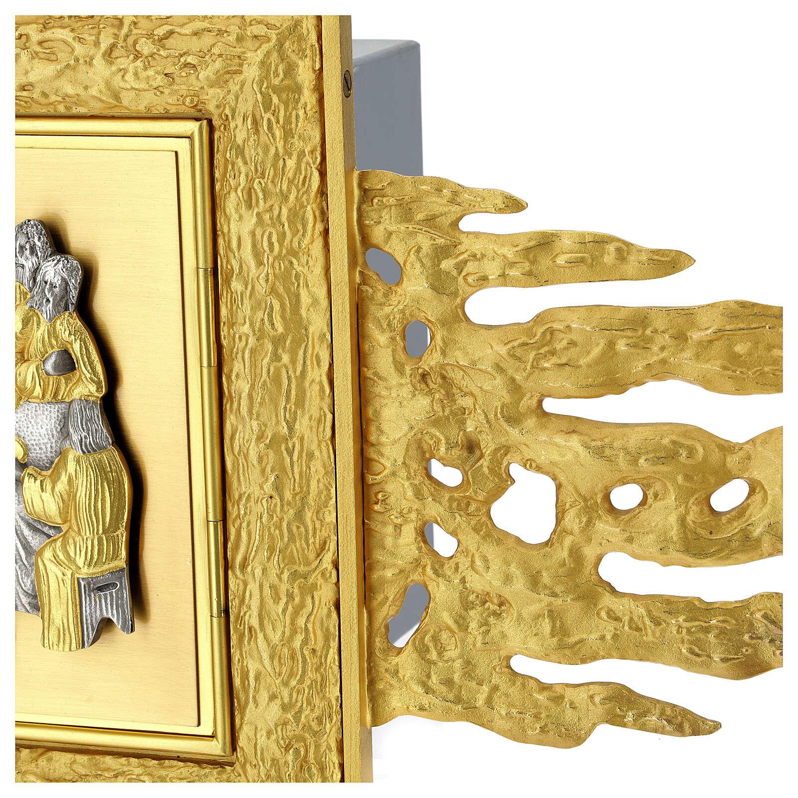 Tabernacle mural laiton avec rayons 90x90 cm et porte bicolore 4