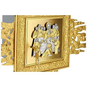 Tabernacolo da muro ottone con raggiera 90x90 cm e porta bicolore s2