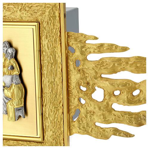 Tabernacolo da muro ottone con raggiera 90x90 cm e porta bicolore 9