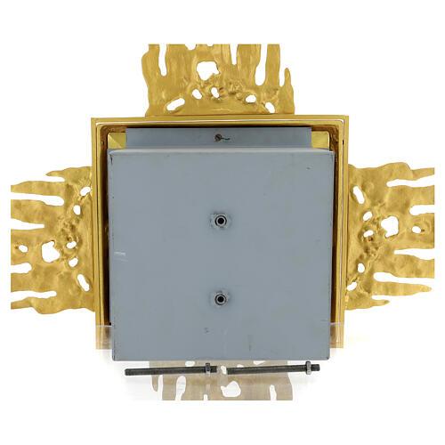 Tabernacolo da muro ottone con raggiera 90x90 cm e porta bicolore 13