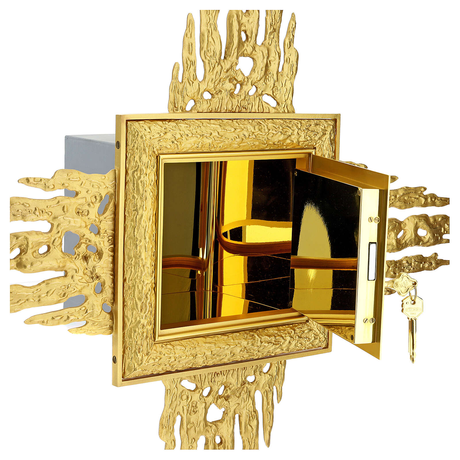 Brass wall-mounted tabernacle with rays 35x35 in and bicolored door 4