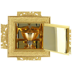 Brass wall-mounted tabernacle with rays 35x35 in and bicolored door s4