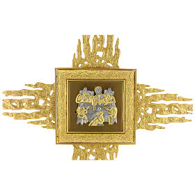 Brass wall-mounted tabernacle with rays 35x35 in and bicolored door s6