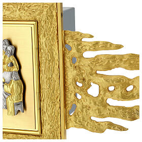 Brass wall-mounted tabernacle with rays 35x35 in and bicolored door s9