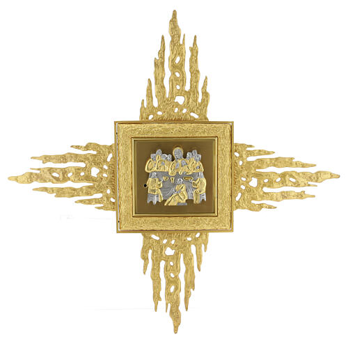 Brass wall-mounted tabernacle with rays 35x35 in and bicolored door 1