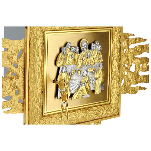 Brass wall-mounted tabernacle with rays 35x35 in and bicolored door 2