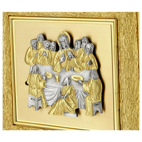 Brass wall-mounted tabernacle with rays 35x35 in and bicolored door 3