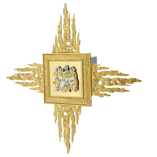 Brass wall-mounted tabernacle with rays 35x35 in and bicolored door 5