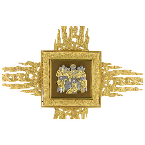Brass wall-mounted tabernacle with rays 35x35 in and bicolored door 6