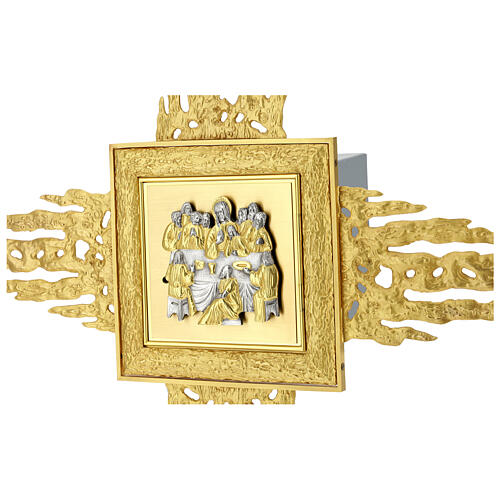 Brass wall-mounted tabernacle with rays 35x35 in and bicolored door 7