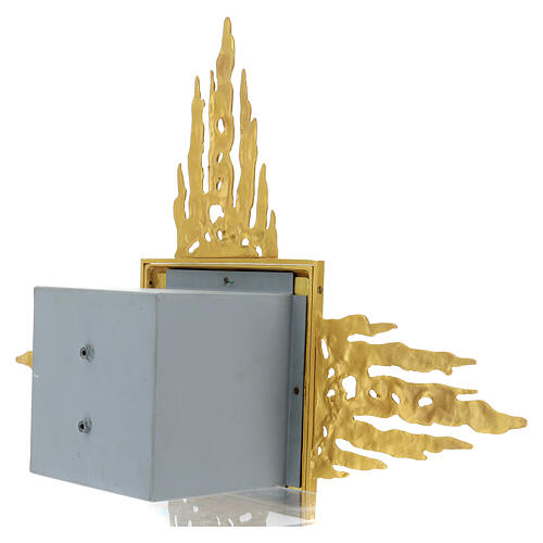 Brass wall-mounted tabernacle with rays 35x35 in and bicolored door 11