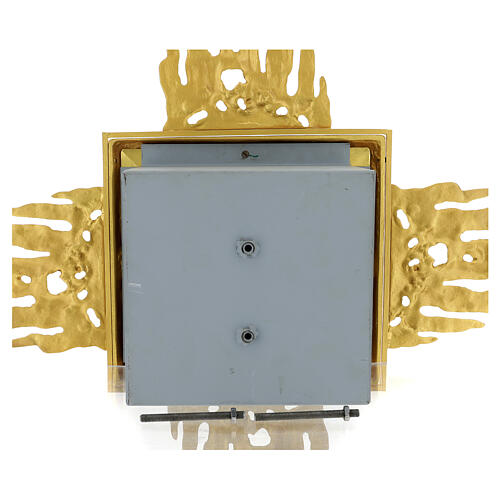 Brass wall-mounted tabernacle with rays 35x35 in and bicolored door 13
